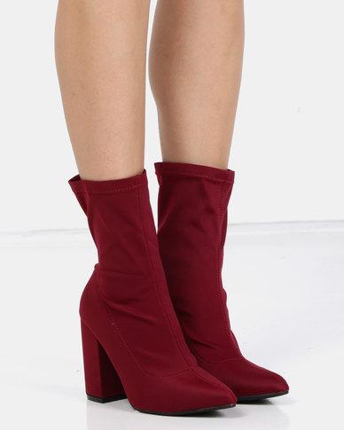 Utopia Stretch Block Heel Boots Maroon