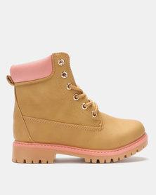 Utopia Lace Up Boots Khaki/Pink
