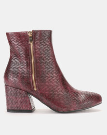 LaMara Embossed Ankle Boots Burgundy