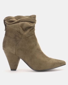 LaMara Pointy Shuffle Ankle Boots Green