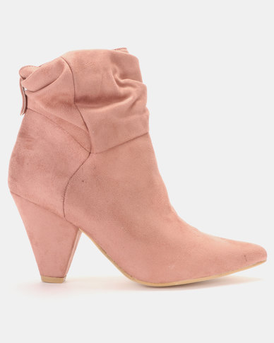 LaMara Pointy Shuffle Ankle Boots Pink