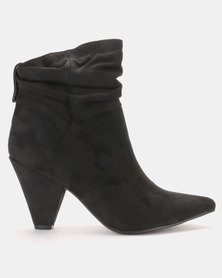 LaMara Pointy Shuffle Ankle Boots Black