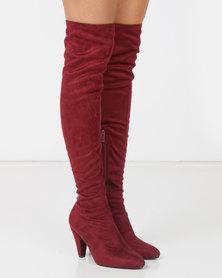 LaMara OTK Boots Red-Purple