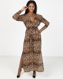 Utopia Georgette Maxi Dress With Slits Animal Print