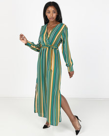 Utopia Georgette Maxi Dress With Slits Emerald Stripe