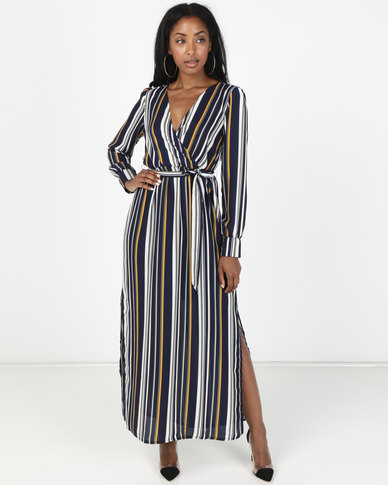 ee6bbdbc1 Utopia Georgette Maxi Dress With Slits Navy Stripe