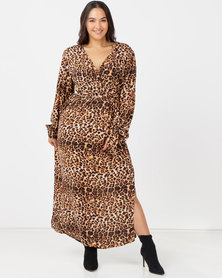 Utopia Plus Georgette Maxi Dress With Slits Animal Print