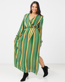 Utopia Plus Georgette Maxi Dress With Slits Emerald Stripe