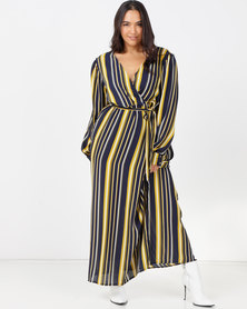 Utopia Plus Georgette Maxi Dress With Slits Navy Stripe