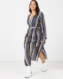 Utopia Plus Georgette Maxi Dress With Slits Bamboo Stripe