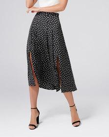 Forever New Nadia Pleated Skirt Black/Porcelain