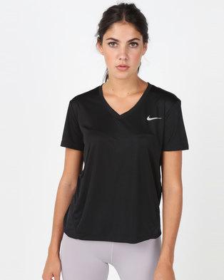 61588229b88ff Nike Performance Women s Miler V-Neck Top Black