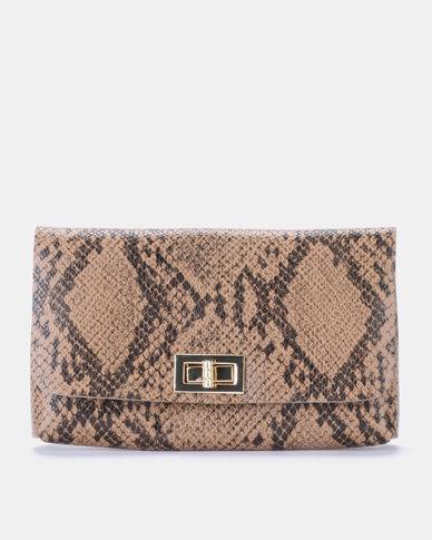 Blackcherry Bag Faux Snake Skin Belt Bag Tan