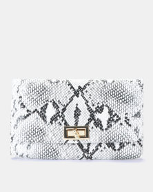 Blackcherry Bag Faux Snake Skin Belt Bag Light Grey