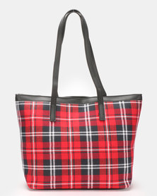Blackcherry Bag Check Shopper Bag Red/Blue