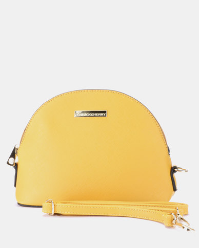 Blackcherry Bag Mini Dome Cross Body Bag Mustard
