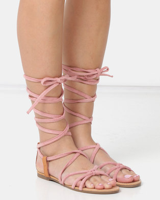 3e17fc105 Legit Lace-up Flat Sandals Blush