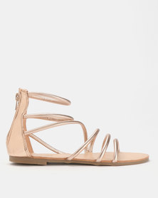 Legit Gladiator Sandal with Back Zip Rose Gold