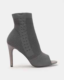 Legit Peeptoe Heeled Sock Boot Grey