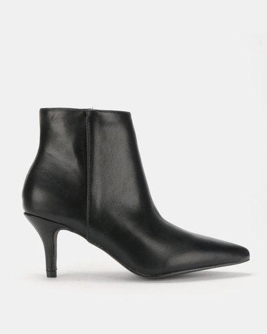 Legit Pointed Kitten Heel Ankle Boots Black