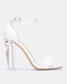 Legit Plain Banded Mule Sandal On Perspex Heels White