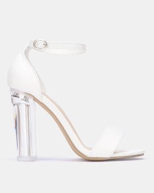 83a82402c5d3 Legit Plain Banded Mule Sandal On Perspex Heels White