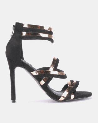 ac4f154f23a Legit Metallic Strap Edge Heel with Back Zip Black