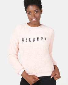Legit Sherpa Embroidered Pullover Pale Salmon