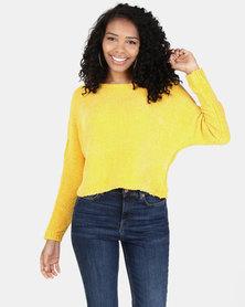 Legit Chenille Boxy Pullover Mustard