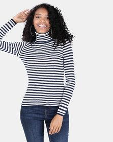Legit Striped Poloneck Pullover White/Navy