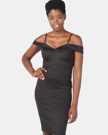 Legit Bardot Multi Strap Bodycon Dress Black