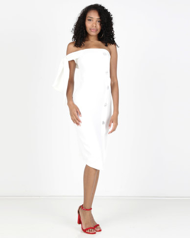 Legit One Shoulder Oversized Button Bodycon Dress White