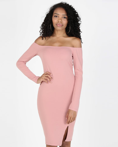 Legit Diagonal Stud 3/4 Sleeve Bardot Bodycon Dress Pink