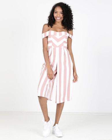Legit Off The Shoulder Stripe Culotte Jumpsuit Blush