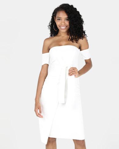 Legit Off The Shoulder Front Mock Wrap Dress White