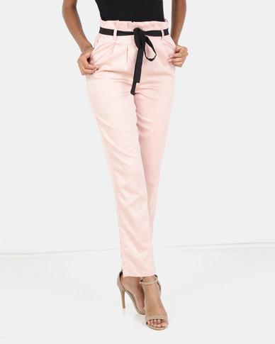 Legit Paperbag Slim Leg With Self Tie Belt Blush