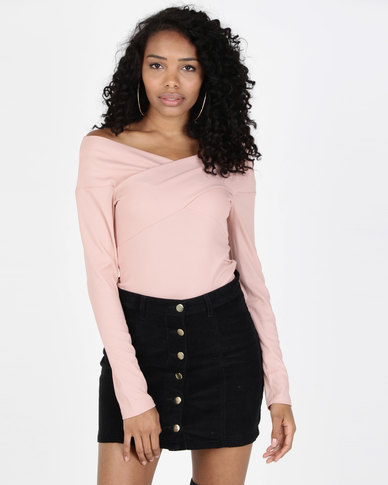 Legit 3/4 Sleeve Off The Shoulder Cross Over Top Blush