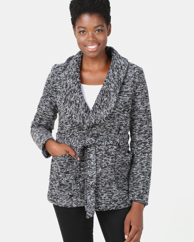 Legit Boucle Robe Self Tie Coat Black