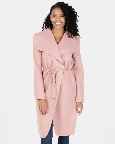 Legit Longer Length Self Tie Belt Robe Coat Dark Blush