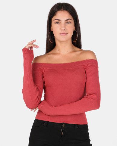 Legit Long Sleeve Bardot Fine Gauge Pullover Rust