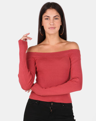 6ffe6ba19e Legit Long Sleeve Bardot Fine Gauge Pullover Rust