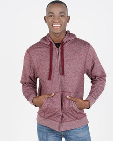 Utopia Melange Zip Through Hoodie With Kangaroo Pocket Burgundy