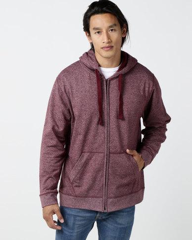 Utopia Melange Zip Through Hoodie With Kangaroo Pocket Burgundy