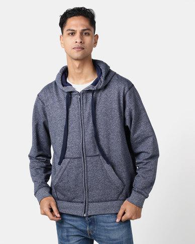Utopia Melange Zip Through Hoodie With Kangaroo Pocket Navy