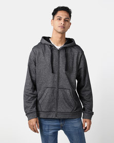 Utopia Black Melange Zip Through Hoodie With Kangaroo Pocket