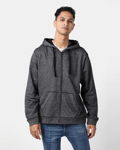 Utopia Black Melange Zip Through Hoodie With Kangaroo Pocket