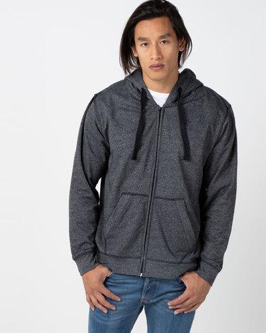 Utopia  Melange Zip Through Hoodie With Kangaroo Pocket Black