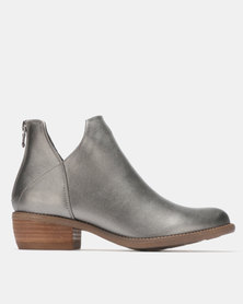 G Couture Cut Out Ankle Boots Pewter