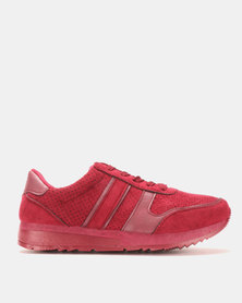 Pierre Cardin Retro Runners With Metallic Flash Burgundy