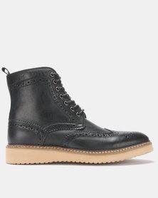 Steve Madden Goddard Wingtip Leather Boot Black